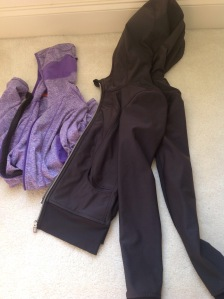 Brooks Purple Thermal Hoodie and Lululemon Zip Up Jacket