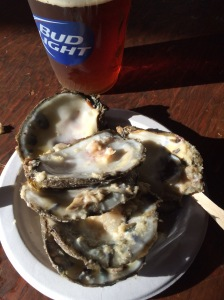 Enjoy fresh oysters and a frosty beer at the finish!