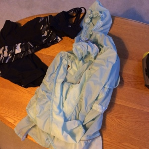 Athleta Capris and the Lululemon Rise and Shine Rain Jacket