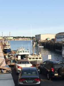 Views of boats moored in Casco Bay