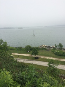 The view of the Eastern Promenade trail along Casco Bay