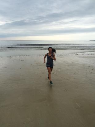 Foggy beach morning run